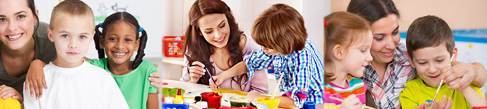 woman and children smiling; woman and boy drawing; woman helps young boy draw with a paint brush