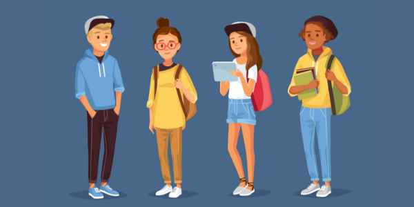 An illustration of a boy and three girls standing with backpacks and other school supplies.