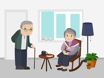 an elderly couple in their living room