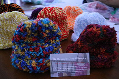 A recent sample of Ashley's preemie cap donations.