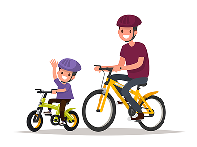 a father and son riding bicycles