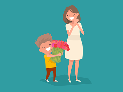 a boy giving a bouquet of tulips to his mother
