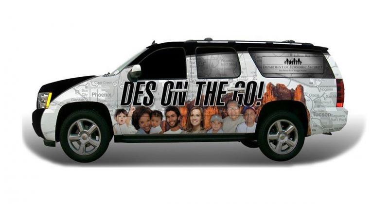 a sports utility vehicle with the words DES on the Go printed on the side