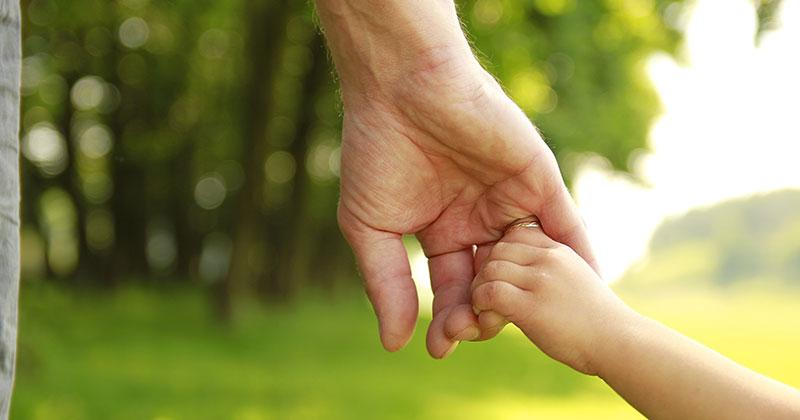 An adult's hand holding a child's hand