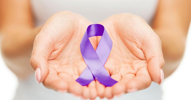 a woman's cupped hands hold a purple ribbon, a symbol of Domestic Violence Awareness