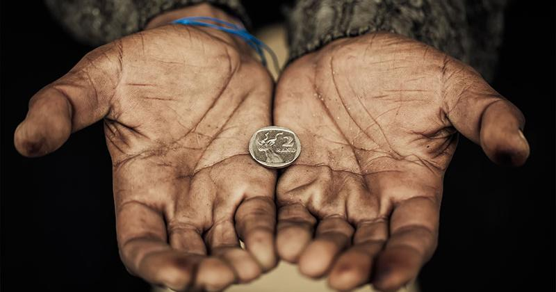 hunger poverty hands feed poor coin