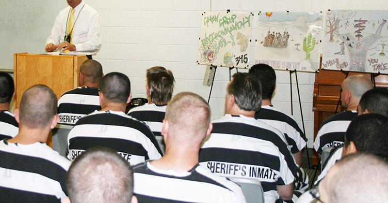 A Maricopa County Sheriff's Captain addresses a class of ALPHA students.