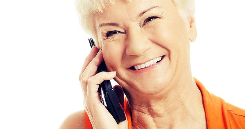 older woman speaking on a mobile phone