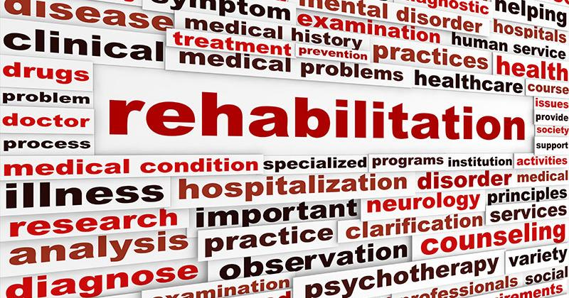 Rehabilitation Words Collage