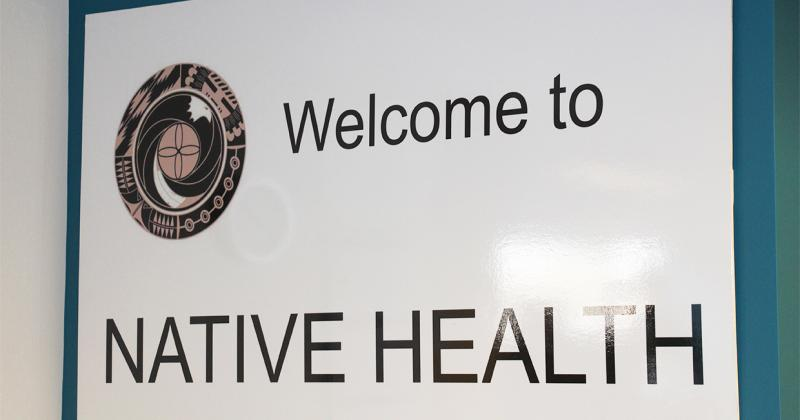 A sign that reads Welcome to Native Health