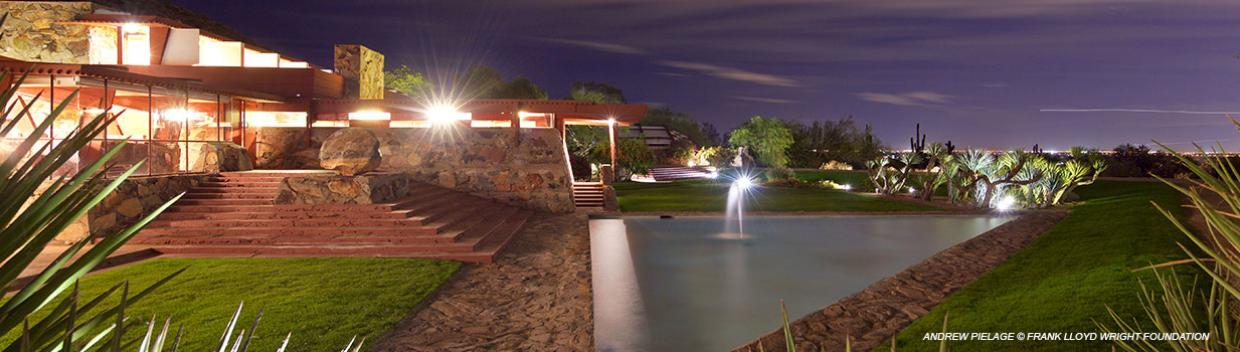 Exterior shot of Taliesin West at twighlight.