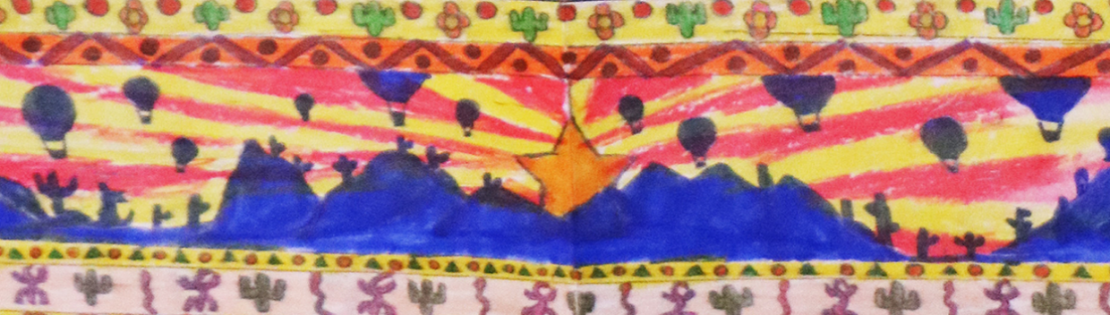 a brightly colored painting of a desert scene
