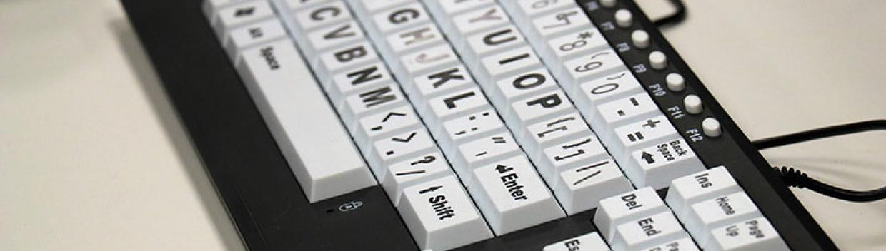 a specialized computer keyboard with larger keys