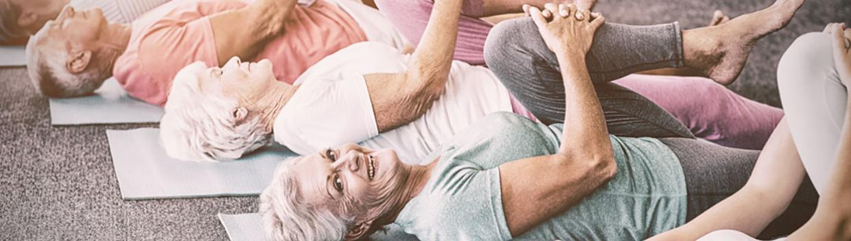 several older adults exercising