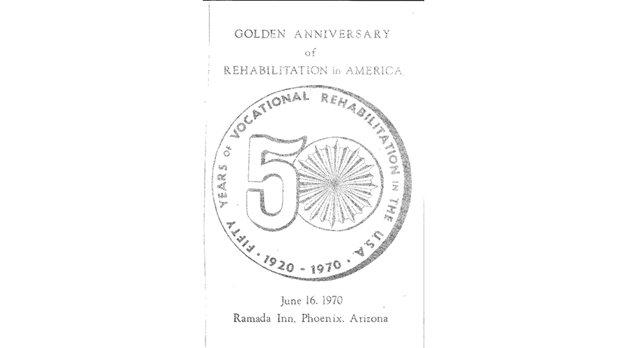 "a old flyer reads ""Golden Anniversary of Rehabilitation in America"""