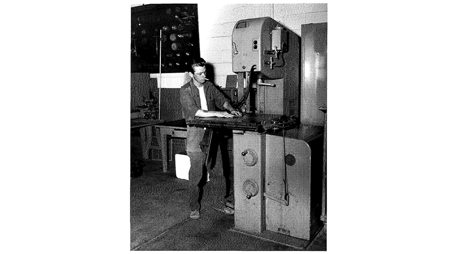 a man working on a large machine