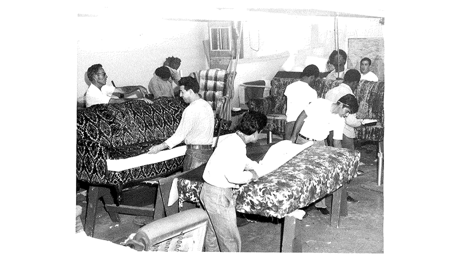 several men working on upholstery
