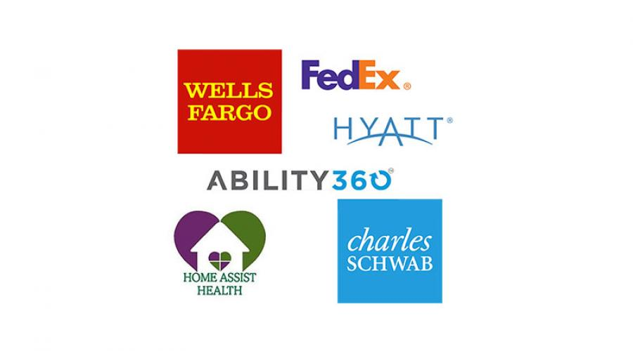 Logos for Wells Fargo, FedEx, Hyatt, Ability 360, Home Assist Health, and Charles Schwab