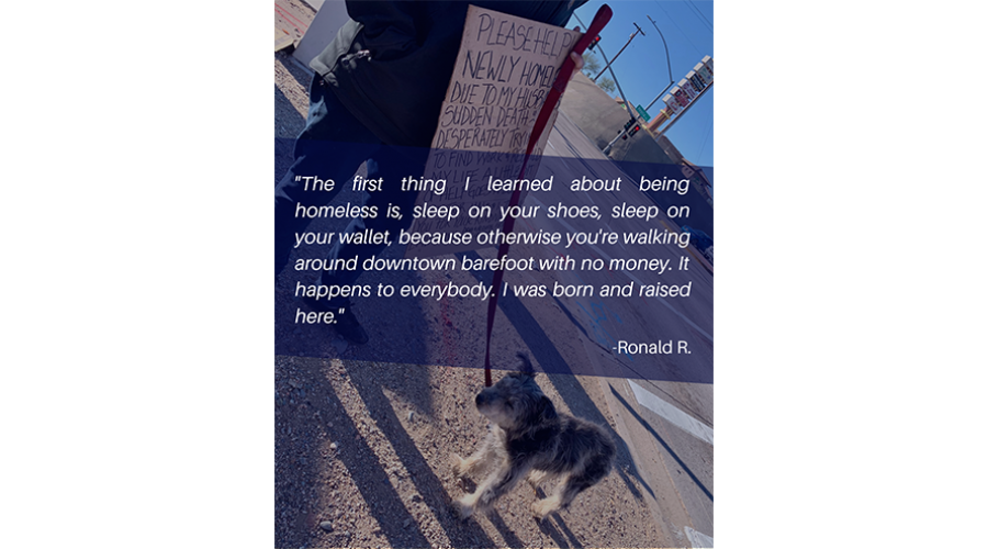 The first thing I learned about being homeless is, sleep on your shoes, sleep on your wallet, because otherwise you're walking around downtown barefoot with no money. It happens to everybody. I was born and raised here. - Ronald R.