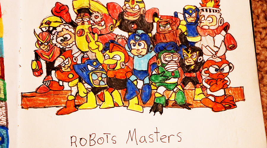 a colorful drawing of various action figures done in pencil