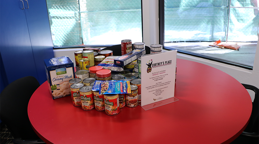 an assortment of canned and boxed food items are displayed on top of a round, red table-top