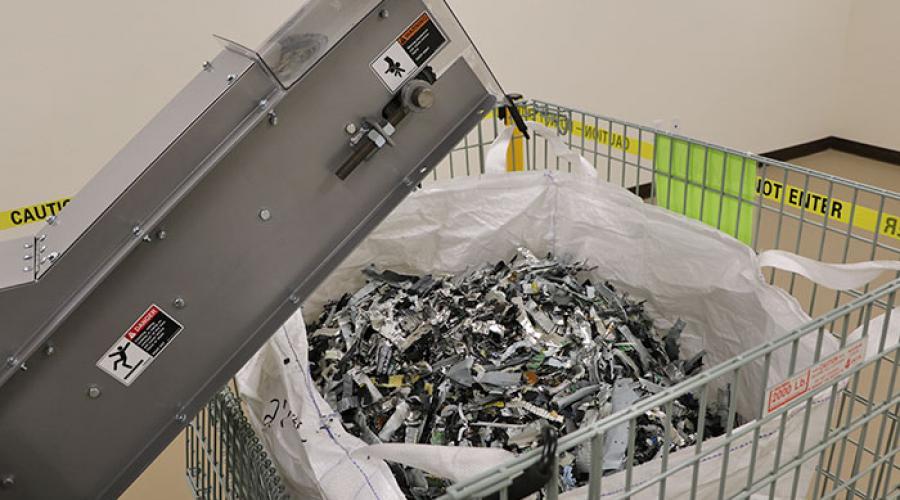 shredded material from industrial shredder