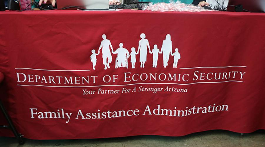 tablecloth reading Department of Economic Security Family Assistance Administration
