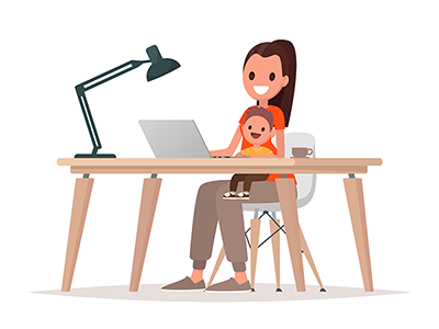 a woman sits at a desk typing on a laptop, holding a small child on her lap